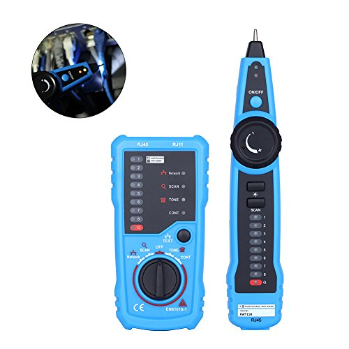 TOOLTOO Wire Tracker, RJ11 RJ45 Cable Tester Line Finder Multifunction Wire Tracer Toner Ethernet LAN Network Cable Tester for Network Cable Collation, Telephone Line Tester, Continuity Checking by TOOLTOO