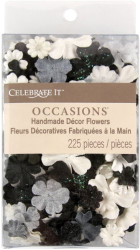 UPC 655350715212, Celebrate It Handmade Paper Flower Confetti 225/Pkg-Black, White & Gray Mix