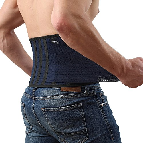 Breathable Back Support and Lumbar Lower Back Brace provides Back Pain Relief – Keep Your Spine Safe and Straight with 6 Plastic ribs and 3 Level Adjustable Belt – DiZiSports Store