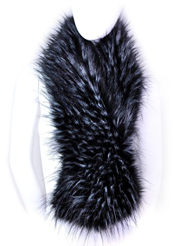 Shawl Collar Shrug (Futrzane Winter Straight Scarf Wrap Faux Fake Fur Collar Shawl Shrug (Black with White)