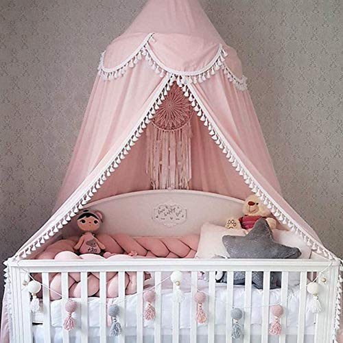 Softmusic 240cm Kids Baby Room Bed Curtain Canopy Pointed Tassel Hung Mosquito Net Pink by Softmusic (Image #4)