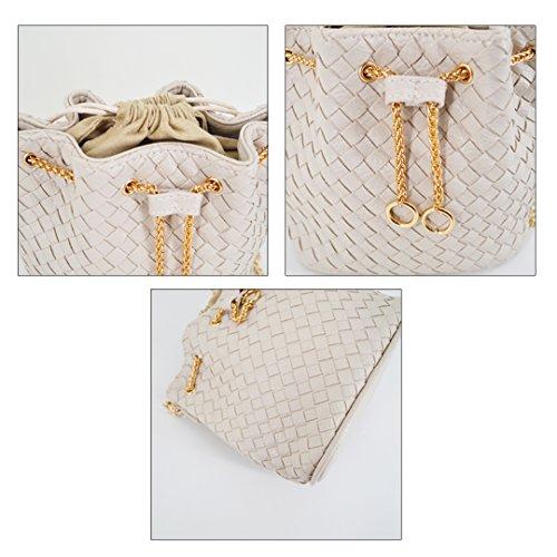 Bucket Satchel Purse Woven Drawstring Women Tote Purse Girls Crossbody Bag Mini White Hobo Heidi Bag qTRPwZt