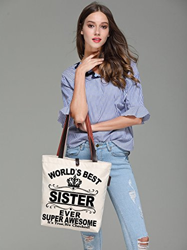 World's Best Print Women's Bag Beach Sister Tote So'each Ever Canvas amp; Handbags 1gqT5wxnX
