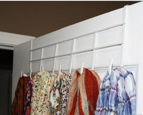 Bath Towel Hooks White Over The Door Home Bathroom Coat Towel Hanger Rack 6 Hooks Hanging Rack Holder Steel Plastic 16'' x 8'' 1 Pcs