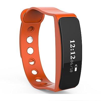 QINSmart Bracelet Heart Rate Monitor Santé Sports imperméable à l'eau Bluetooth Step Hands Wearing Gifts , orange