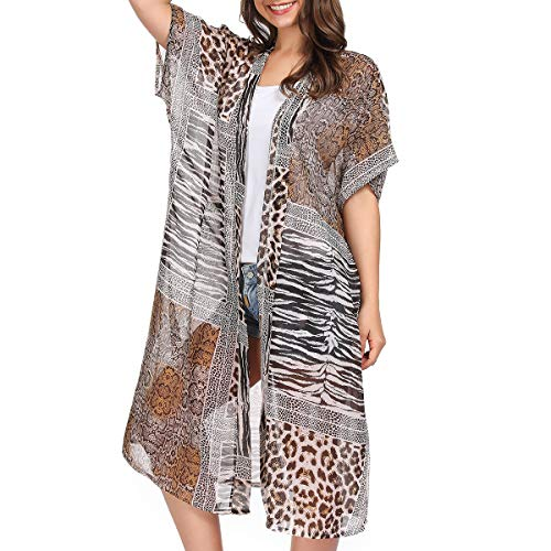 Women Kimono Cardigan Floral Printed Casual Loose Beachwear Cover ups Tops(Colour32)