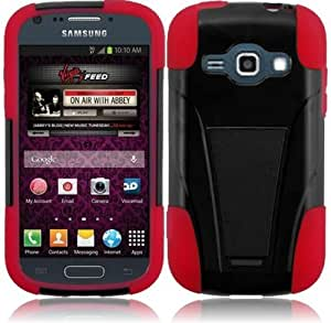 LF Hybrid Dual Layer Case with Stand, Lf Stylus Pen and Wiper for Virgin Mobil Samsung Galaxy Ring M840 (Stand Black / Red)