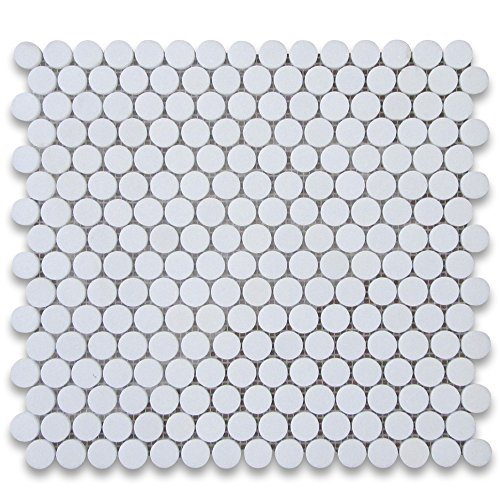 Thassos White Greek Marble Penny Round Mosaic Tile 3/4 inch Honed -