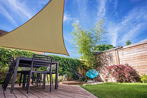 Coolaroo Shade Sail, Triangle Ready to Hang Shade Sail, 12', Latte
