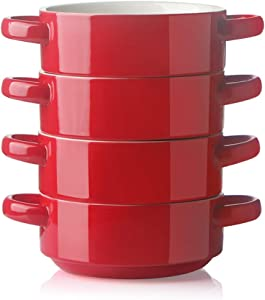 SWEEJAR Ceramic Soup Bowl with Double Handles, 20 Oz Stacked Bowls for French Onion Soup, Cereal, Stew, Chill, Pasta, Set of 4 (Red)