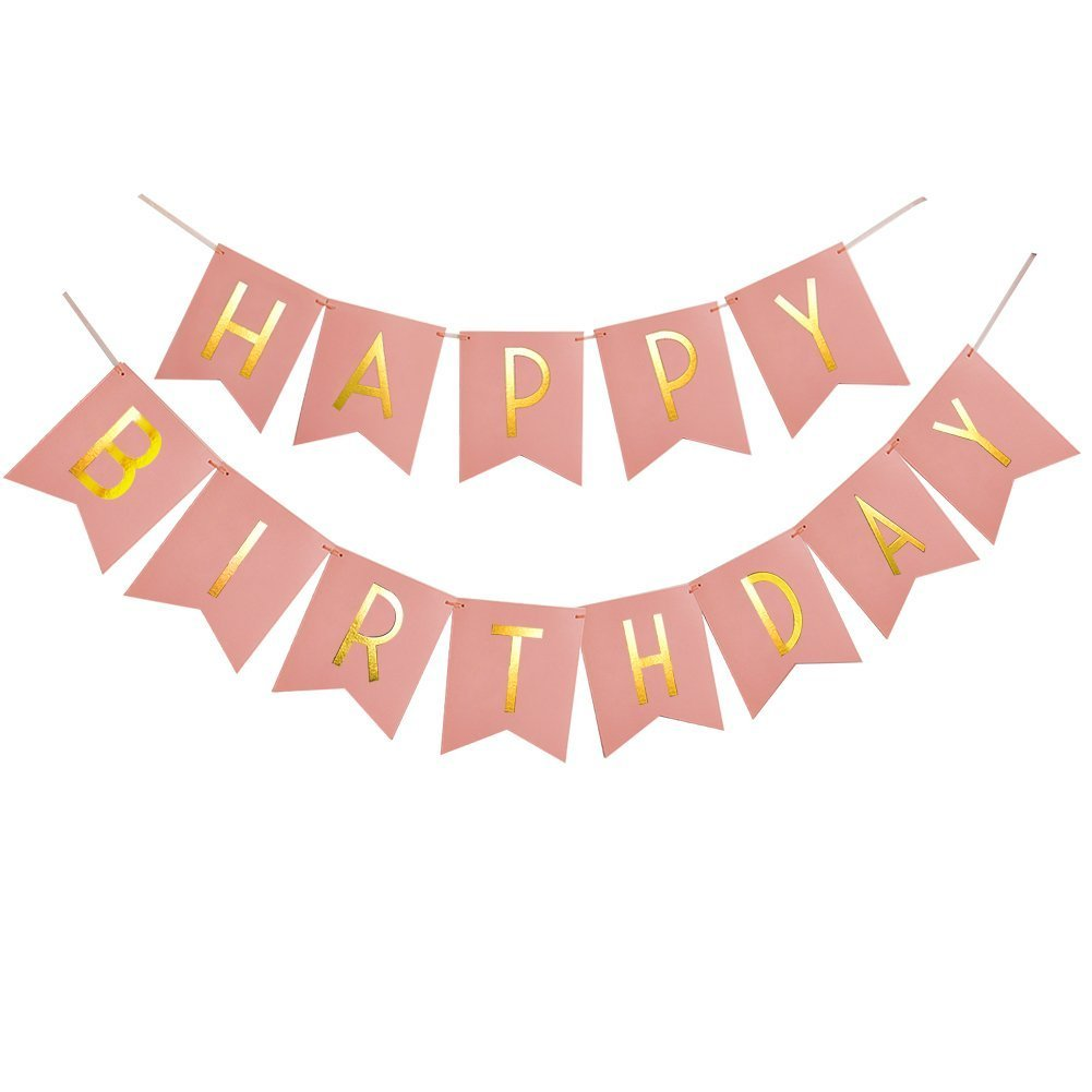 Pink Happy Birthday Banner With Gold Foil Lettering and Hooks To Hang Flynn /& Everly