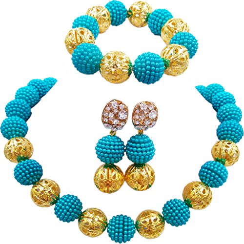 aczuv Nigerian Wedding African Beads Jewelry Set for Women Simulated Pearl Necklace and Earrings Bracelet (Army Green) ()