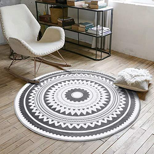 (Zarbrina Nordic Gray Series Round Carpet for Living Room Computer Kids Area Rug Children Play Tent Floor Mat Cloakroom)