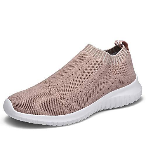TIOSEBON Women's Walking Sock Shoes Lightweight Mesh Slip-on- Breathable Yoga Sneakers 9.5 US Apricot ()