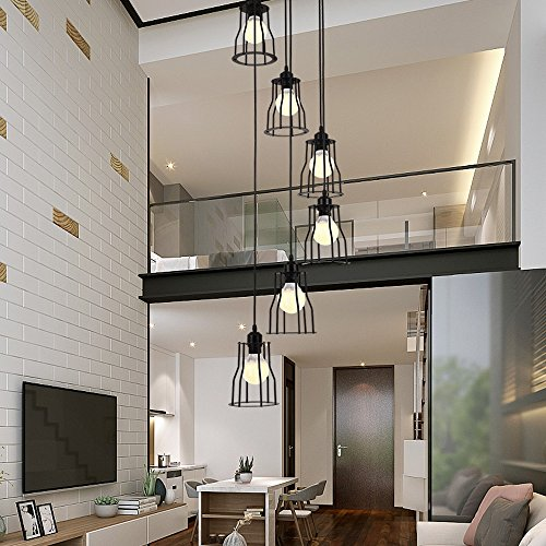 - 6 Lights Retro Chandelier LED E27, 30 150CM, Staircase Pendant Light Industrial Lamp black, Duplex Building Floor Spiral Staircase Chandelier for Living Room, Wrought Iron Shade, Bulbs Include