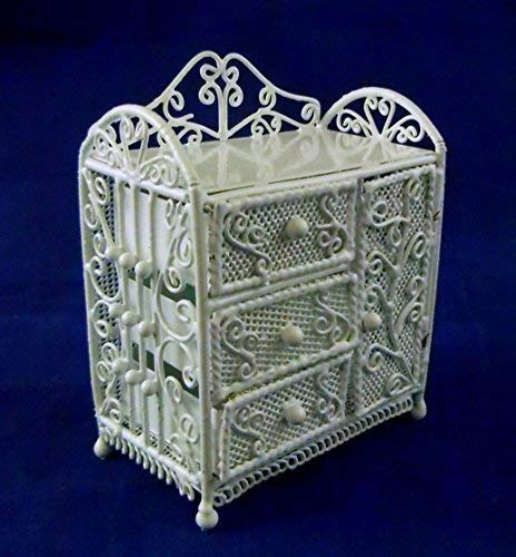 Vanity Fair Dolls House Miniature Nursery Furniture White Wire Wrought Iron Changing Table