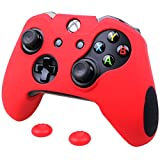 Pandaren Soft Silicone Thicker Skin Cover for Xbox One Controller Set (Red skin X 1 + Thumb Grip X 2)