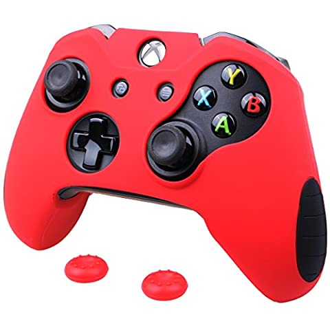 Pandaren Soft Silicone Thicker Skin Cover for Xbox One Controller Set (Red skin X 1 + Thumb Grip X (Xbox 360 Aluminum Triggers)
