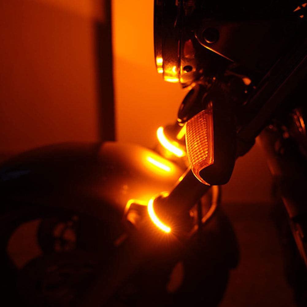 housesweet Moto Flexible Orange LED Fourche Clignotant DRL Daytime Running Light /Étanche Avant Arri/ère Voyants 2pcs