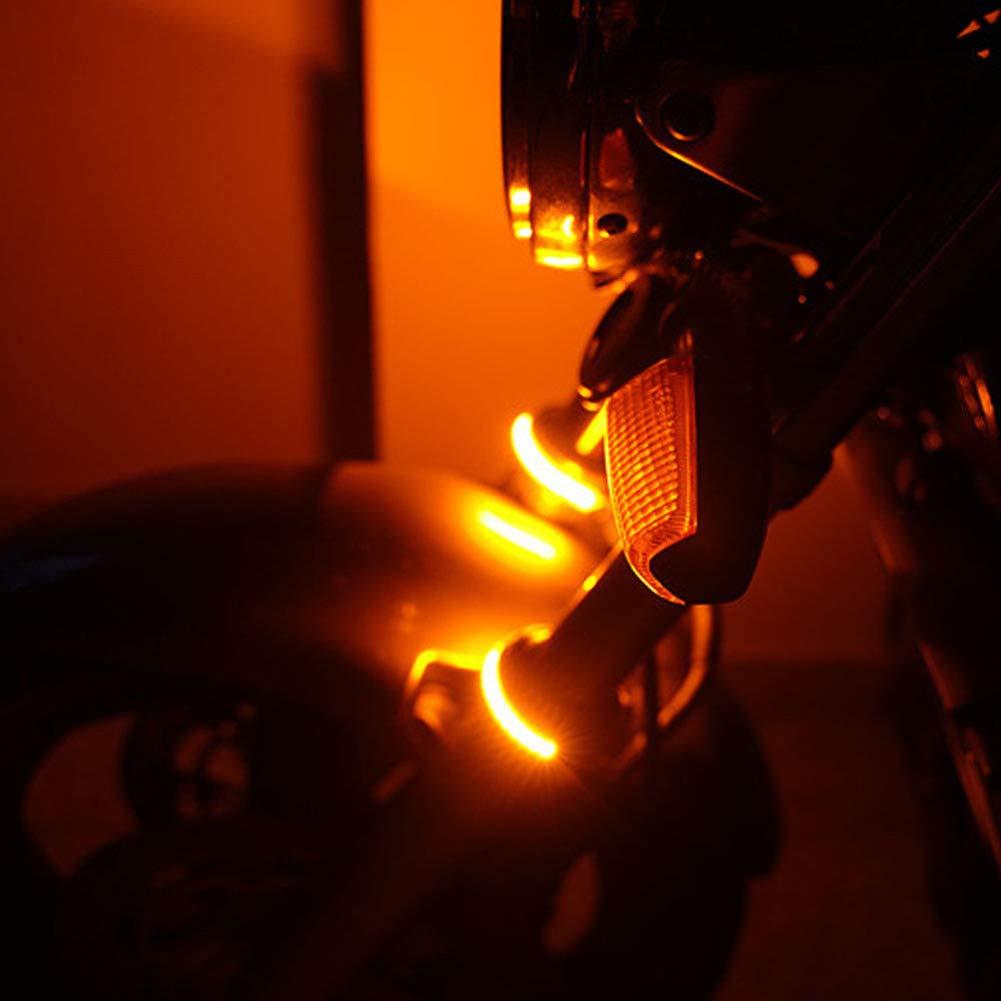 vitihipsy 1 paire de bandes de fourche /à leds orange ambre clignotant pour moto universelle