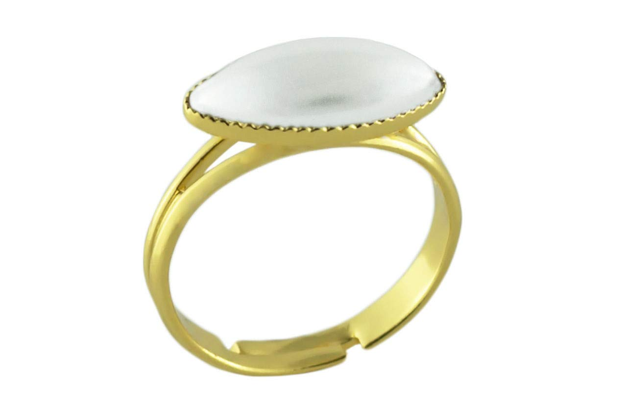 24K Gold Plated Fantasy Ring Universal Adjustable Size White Pearl Flower Petal Oval Czech Glass Stone Handmade BohemStyle
