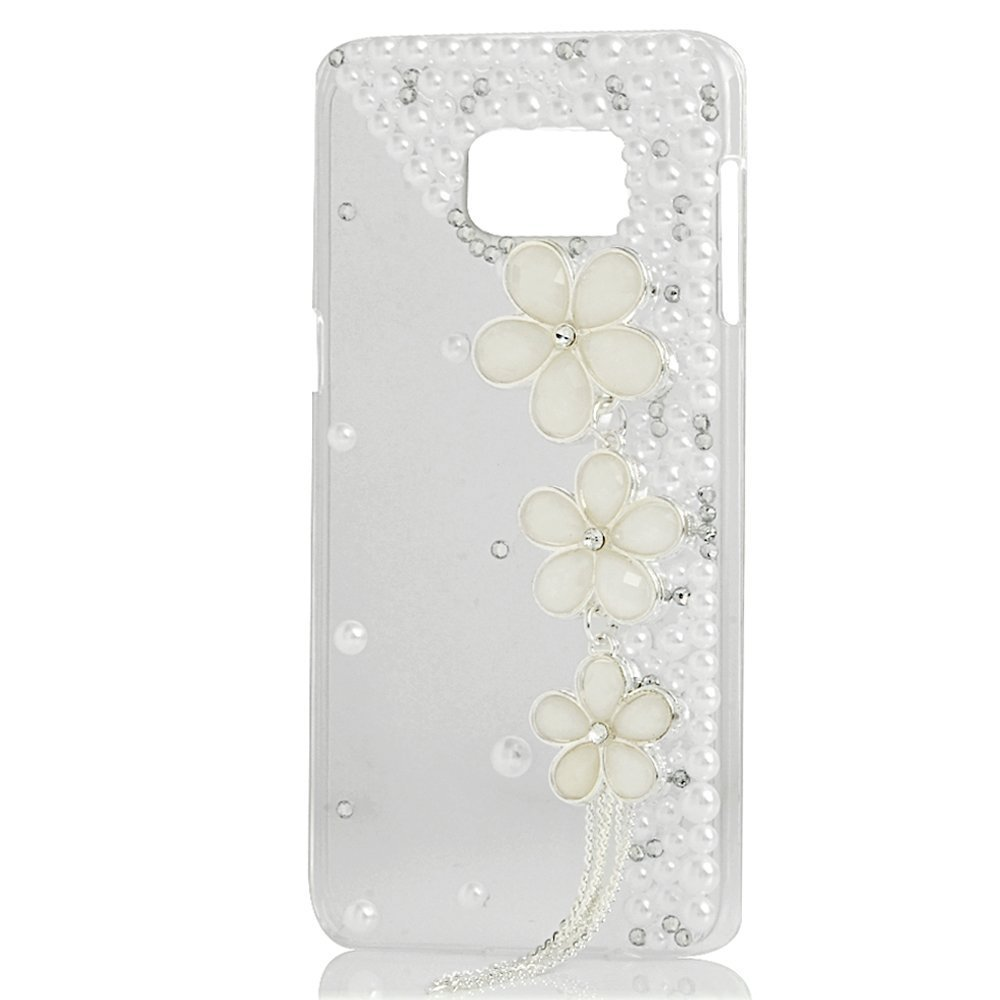 Evtech(tm) Diamante Butterfly Floral Diamond Rhinestone Bling Crystal Glitter Fashion Style Leather Case for Samsung Galaxy S6 Edge Plus S6 Edge+ (100% Handcrafted)