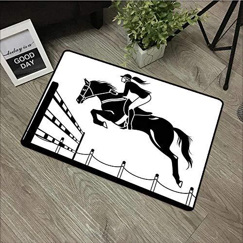 Crystal Velvet Doormat Cartoon Racing Horse with a Jockey Girl Jumping Above Barrier Barn Farming Image Print All Season Universal 24
