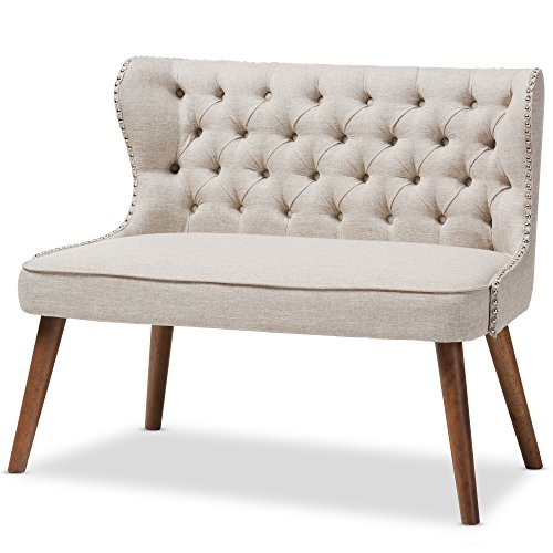 Baxton Studio Sydney Walnut Wood Button-Tufting With Nailheads Trim 2-Seater Loveseat Settee, Light Beige Wholesale Interiors Living Room Loveseat