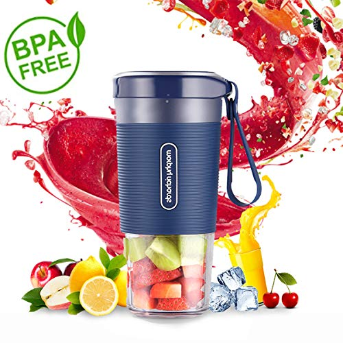 Portable Blender, Mini Personal Blender,Small Smoothie Blender, Fruit Juicer Mixer for Home Outdoor Travel Office with USB Rechargeable,IP68 Waterproof, BPA Free,350ml(Luxury Blue)
