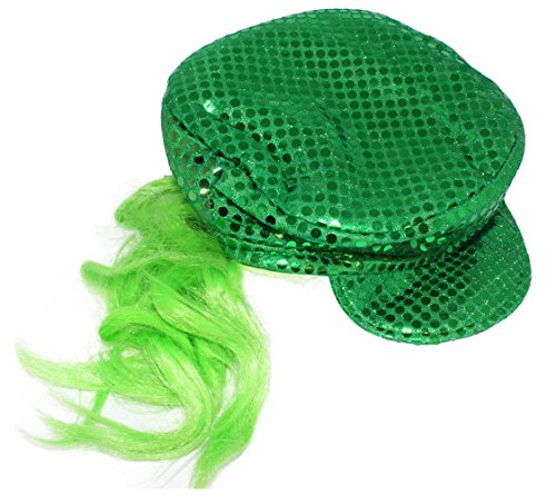 [St. Patrick's Day Irish Glitter Baseball Hat with Attached Wig] (Glitter Wigs)