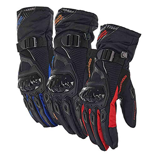 Motorcycle Gloves Man Touch Screen Winter Warm Waterproof Windproof Soft Flexible And Comfortable Protective Gloves Guantes Moto Luvas Motosiklet Eldiveni For Men And Women Blue Red Black (Black, XXL)