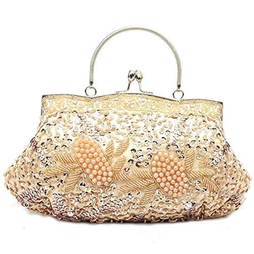 Belsen Women's Wedding Bead Sequin Evening Handbags (Vintage Sequins Edging)