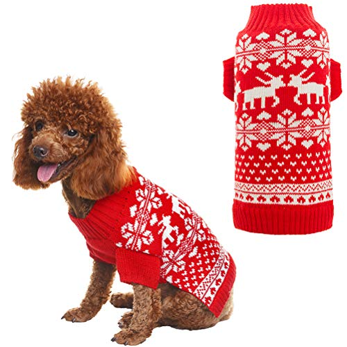 Orangexcel Classic Red Christmas Dog Knitted Sweater with Cute Reindeer for Puppy Pet S