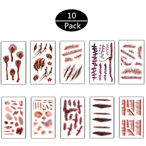 (10Pcs Halloween Zombie Fake Scars Tattoos Bloody Costume Makeup Scary Injury Sticker)