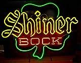 Queen Sense 24''x20'' Shiner Bock Clover Shamrock Neon Sign (VariousSizes) Beer Bar Pub Man Cave Business Glass Lamp Light DC320