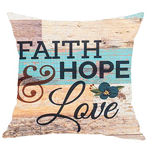WePurchase Hand Painted Black Words Faith Hope & Love Snail Flower Brown Blue Wood Grain Background Cotton Linen Decorative Home Sofa Living Room Throw Pillow Case Cushion Cover Square 18x18 (Hope Throw Pillow)