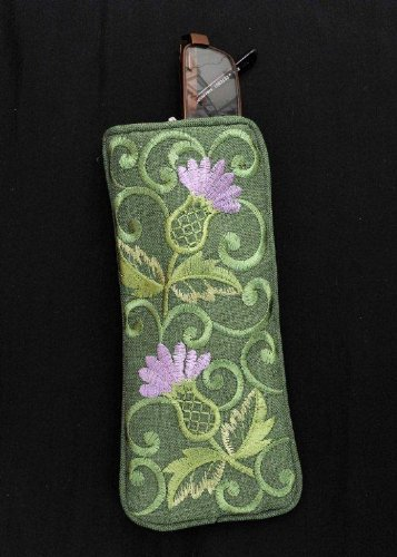 Eyeglasses Case in a Green Balmoral Thistle -