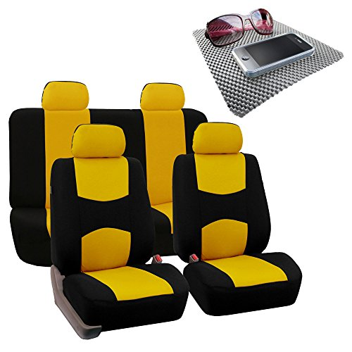 FH Group Bright Flat Cloth Full Set Car Seat Covers, Yellow/Black w. Free GIFT- Fit Most Car, Truck, Suv, or -