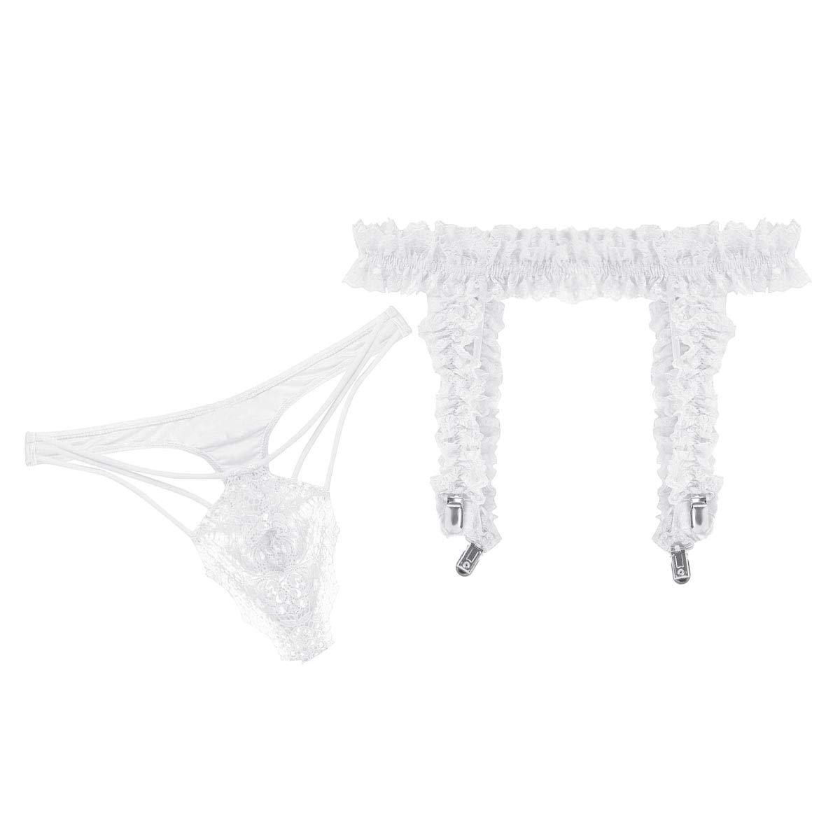 ranrann Mens 2 PCS Lingerie Ruffled Lace See Through G-String Thongs with Frilly Heart Clips Garter Belt