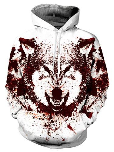 Vogseek 3d Capuche Unisexe À Cordon Imprimer Unique Pocket Manches Sweat Wolf Pull Avec Hommes Big Evil Cool Femmes Longues qrrAwtx8