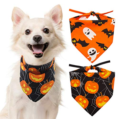 Halloween Dog Gifts (SCENEREAL Halloween Dog Bandana 2 Pack - Triangle Bibs Scarf Pumpkin Ghost Holiday Accessories for Dogs Puppy)