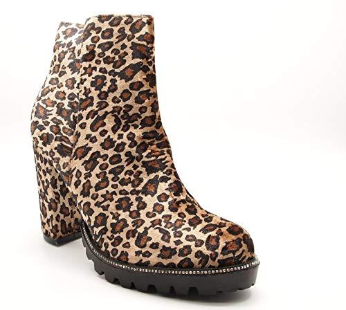 Block High Platform Ankle Size Definitely Chunky Heel Diamante Leopard You Shoes Boots Ladies Womens Print fFwHqHBUA