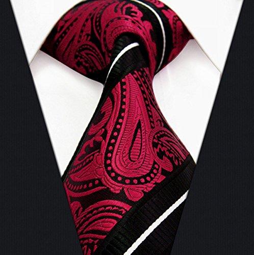 Paisley Stripes Black Red White Mens Necktie Ties 100% Silk Jacquard Woven Wedding Men Ties For  ...