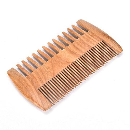 Ensunpal Dual Action Beard Comb, Wood Fine Coarse Tooth Pocket Handmade Mustach Comb