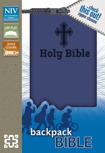NIV, Backpack Zipper Bible, Imitation Leather, Blue, Red Letter
