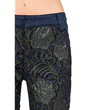 7 For All Mankind Women's Pencil Trouser With Soutache Lace Front