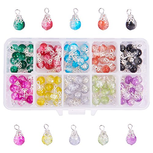 PH PandaHall 100pcs 10 Color Drops Crackle Glass Beads with Silver Bead Cap Drops Beads Charms Pendants for Jewelry Making Necklace Earring Accessory