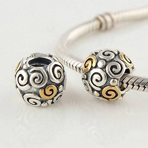 TAOTAOHAS Oxydé Antique Authentique Charms Beads Perles, en argent 925/1000 sterling ( vent ) fit européen Bracelets Charme Breloques