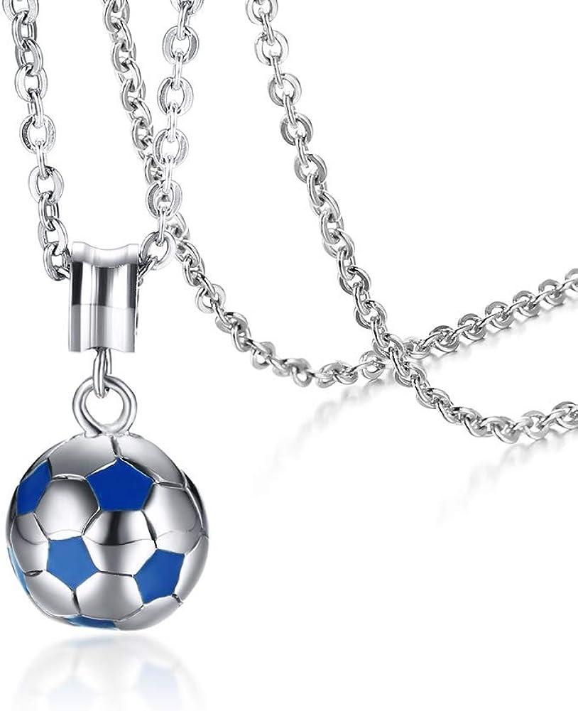 Joielavie – Collar con colgante de balón de fútbol bicolor azul y ...