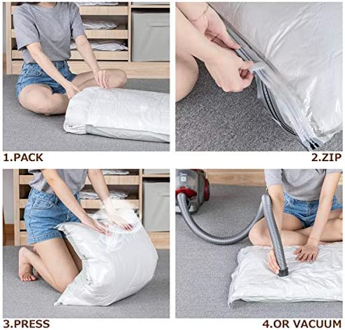 VELMADE Vacuum Storage Bags 8 Pack Space Saver for Clothes Blankets Duvets Pillows Comforters,Pump-Free Exhaust(4XJumbo,4XLarge)